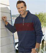 Men's Brushed Fleece Pullover Twin-Pack - Navy Burgundy