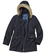 Women's Navy Blue Microtech Hooded Parka Coat preview4