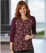 Women's Burgundy Top with Floral Motif - Three-Quarter Length Sleeves  preview1