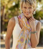 Women's Spring Scarf with Multicoloured Print