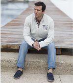 Men's Cream Brushed Fleece Zip-Up Jacket preview3
