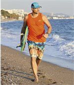 Pack of 3 Men's Pacific Beach Vest Tops - Blue Turquoise Orange preview3
