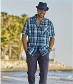 Men's Blue Check Waffle-Effect Checked Shirt preview1
