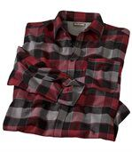 Men's Checked Flannel Shirt – Red Black Grey preview2