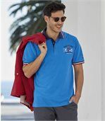 Pack of 2 Men's Piqué Fabric Polo Shirts - Blue White preview2