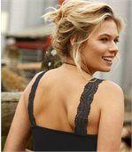Pack of 2 Women's Stretch Lace Vest Tops - Black Ecru preview2
