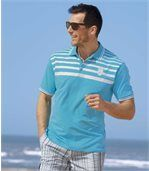 Pack of 2 Men's Miami Pacific Polo Shirts - White Turquoise preview2