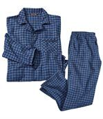 Men's Blue Flannel Pyjamas - Checked preview2