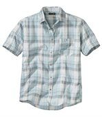 Men's Turquoise Checked Waffle-Effect Shirt preview2