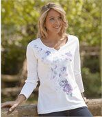 Women's White T-Shirt with Flower Pattern - Cotton preview1