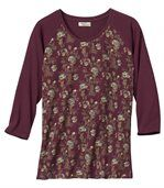 Women's Burgundy Top with Floral Motif - Three-Quarter Length Sleeves  preview2