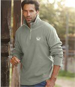 Pack of 3 Men's Microfleece Jumpers - Grey Green Ecru preview4