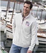 Men's Cream Brushed Fleece Zip-Up Jacket