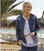 Strečová džínsová bunda s výšivkou preview2