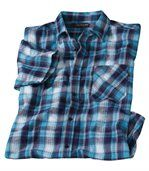 Men's Blue Check Waffle-Effect Checked Shirt preview2