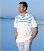 Pack of 2 Men's Miami Pacific Polo Shirts - White Turquoise preview3