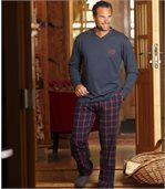 Men's Tartan Pyjamas - Navy Red