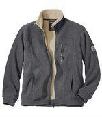 Men's Grey Sherpa-Lined Polar Fleece Jacket