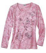 Batikované tričko s květinovým vzorem
