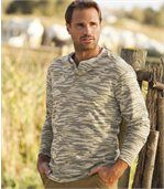 Camouflage-T-shirt met knopenkraag preview1