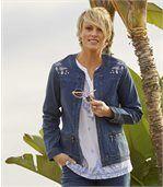 Strečová džínsová bunda s výšivkou preview4