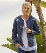 Women's Embroidered Blue Stretch Denim Jacket preview4