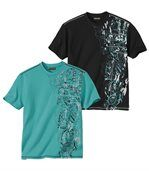 Pack of 2 Men's Surfing T-Shirts - Black Turquoise preview1