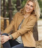 Women's Camel Faux Suede Jacket preview1