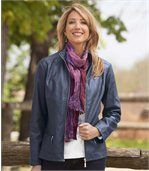 Women's Navy Faux Leather Jacket  preview2