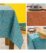 Nappe rectangle 150x300 cm Jacquard 100% coton SPIRALE orange papaye