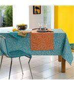Nappe rectangle 150x350 cm Jacquard 100% coton SPIRALE bleu turquoise