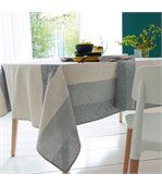 Nappe ronde 170 cm Jacquard 100% coton + enduction acrylique MOSAIC PERLE Gris preview4