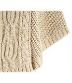 Poncho laine grosse maille laine mohair beige elod preview2