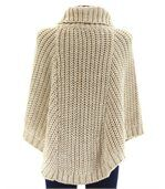 Poncho laine grosse maille laine mohair beige elod preview3