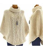 Poncho laine grosse maille laine mohair beige elod preview4