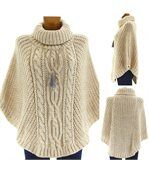 Poncho laine grosse maille laine mohair beige elod preview5