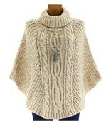 Poncho laine grosse maille laine mohair beige elod preview1