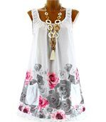 Robe  coton - rosanna -  fleurs blanc preview2