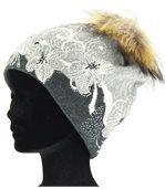 Bonnet laine pompon fourrure TATIANA gris preview2
