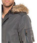 Blouson gris zippé à capuche fourrure preview2