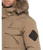 Blouson camel grandes poches capuche fourrure preview2