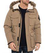 Blouson camel grandes poches capuche fourrure preview3