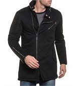 Blouson long fashion noir et pièce simili cuir matelassé preview1