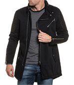Blouson long fashion noir et pièce simili cuir matelassé preview3
