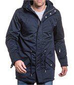 Blouson homme long navy à capuche et poches preview1