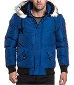 Blouson homme bleu matelassé fashion et capuche preview1
