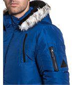 Blouson homme bleu matelassé fashion et capuche preview2
