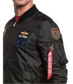 Blouson homme bomber noir léger avec écussons brodés preview2