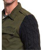 Blouson homme kaki bi-matière zippé preview2