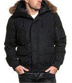 Blouson court parka hiver noir avec capuche fourrure stylé preview1